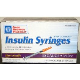 Good Neighbor Pharmacy U-100 Insulin Syringe, 30 Gauge, 3/10cc, 5/16