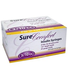 "SureComfort Insulin Syringe 29 Gauge, 3/10cc, 1/2"", 100 Count"