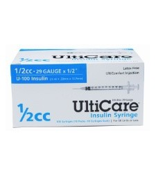 "UltiCare U-100 Insulin Syringe, 29 Gauge, 1/2cc, 1/2"" Needle - 100 Count Box"