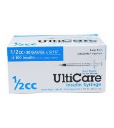 "UltiCare U-100 Insulin Syringe, 30 Gauge, 1/2cc, 5/16"" - 100/Box"