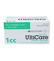 "UltiCare U-100 Insulin Syringe, 31 Gauge, 1cc, 5/16"" Short Needle - 100 Count Box"
