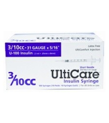 "UltiCare U-100 Insulin Syringe, 31 Gauge, 3/10cc, 5/16"" - 100 Count"