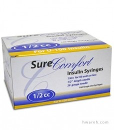 "SureComfort Insulin Syringe 29 Gauge, 1/2cc, 1/2"", 100 Count"