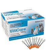 "UltiCare U-40 Veterinary Insulin Syringe, 29 Gauge, 1/2cc, 1/2"" Needle - 100 Count Box"